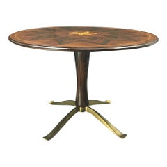 Paolo Buffa Rosewood and Gilt Bronze Dining Table