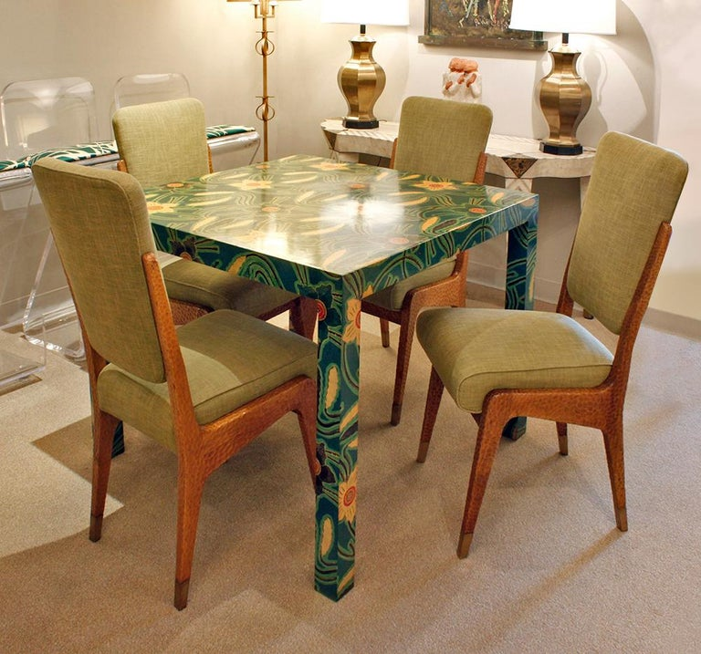 Paolo Buffa Set of Four Handcrafted Dining / Game Chairs, circa 1940 In Excellent Condition For Sale In New York, NY