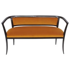 Paolo Buffa Settee in Wood and Ochre Velvet, Italy, 1940s