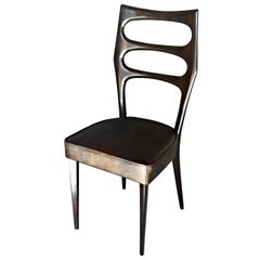 Paolo Buffa Six Sculptural Dining Chairs Fully Restored, Glossy, Cavalli leather