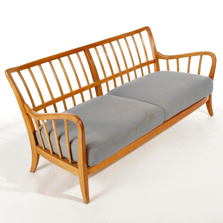 Mid-Century Modern Bench Seette Seat by Thonet, Attributed to Josef Frank, Wood, 1940 For Sale