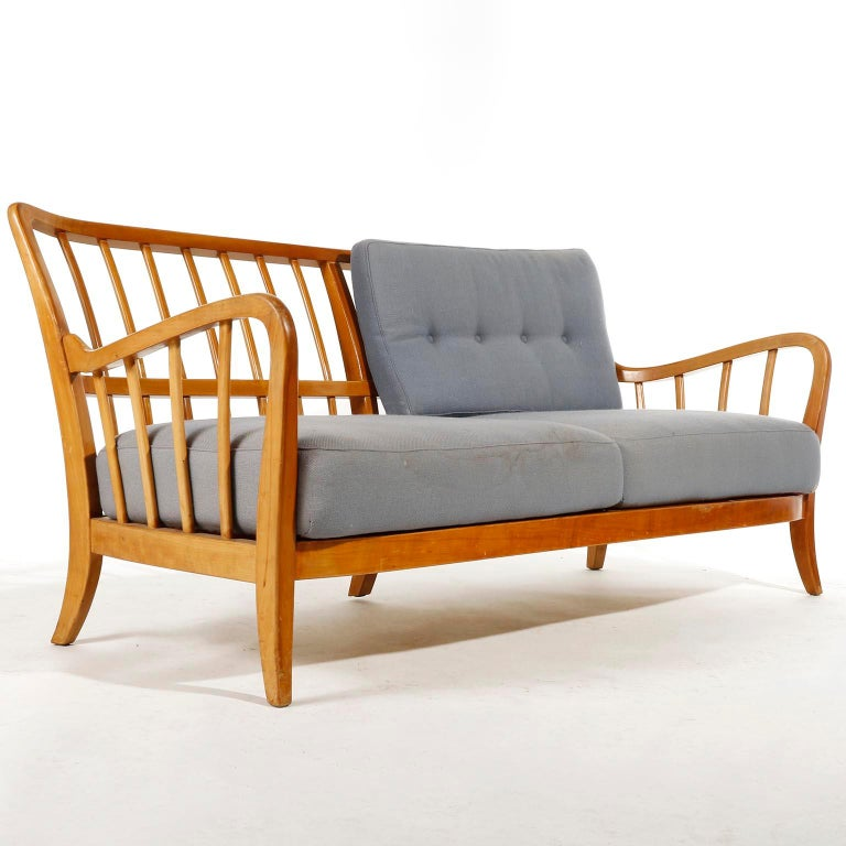Bench Seette Seat by Thonet, Attributed to Josef Frank, Wood, 1940 In Good Condition For Sale In Vienna, AT