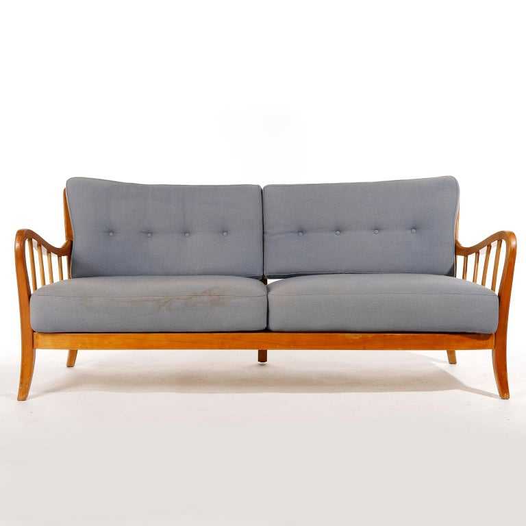 Fabric Bench Seette Seat by Thonet, Attributed to Josef Frank, Wood, 1940 For Sale