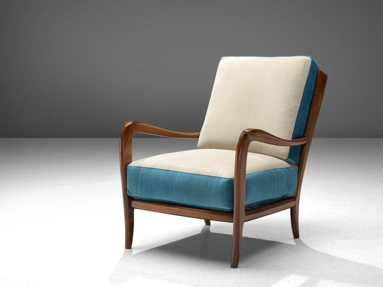 Mid-Century Modern Italian Armchair in Walnut, 1960s For Sale