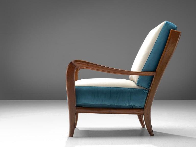 Italian Armchair in Walnut, 1960s In Excellent Condition For Sale In Waalwijk, NL