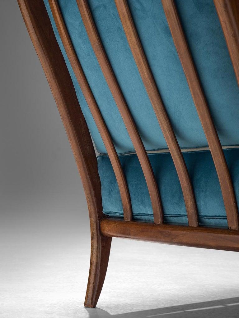 Fabric Italian Armchair in Walnut, 1960s For Sale
