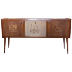 Paolo Buffa style Italian decorated sideboard, created in wood, brass 1950s