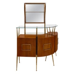 Paolo Buffa Style Midcentury Italian Bar and Case Piece