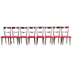 Paolo Buffa Style Mid-Century Modern Italian Dining Chairs, Set of Eight