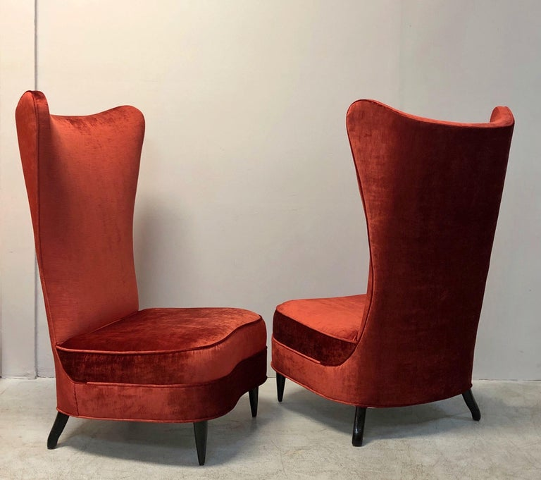 Paolo Buffa Style Tall Back Club Red Velvet Slipper Chairs For Sale 5
