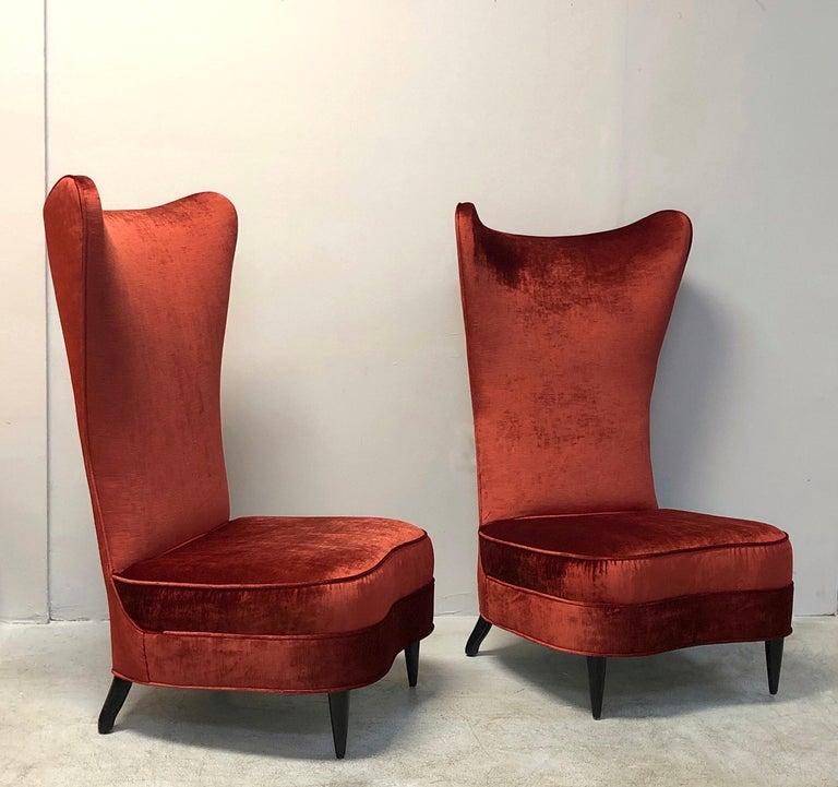 Paolo Buffa Style Tall Back Club Red Velvet Slipper Chairs For Sale 8
