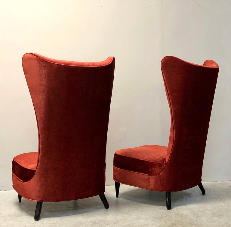American Paolo Buffa Style Tall Back Club Red Velvet Slipper Chairs For Sale