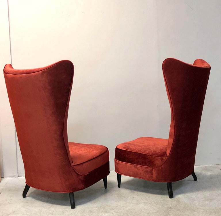 Paolo Buffa Style Tall Back Club Red Velvet Slipper Chairs In Good Condition For Sale In Miami, FL