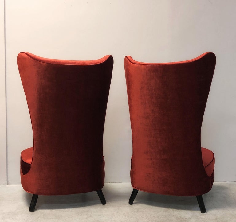 Late 20th Century Paolo Buffa Style Tall Back Club Red Velvet Slipper Chairs For Sale