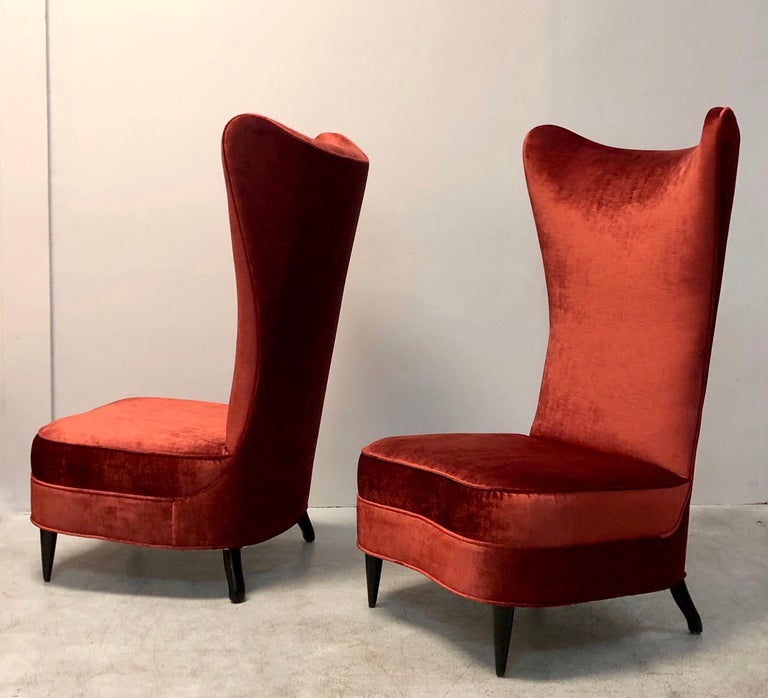 Paolo Buffa Style Tall Back Club Red Velvet Slipper Chairs For Sale 1