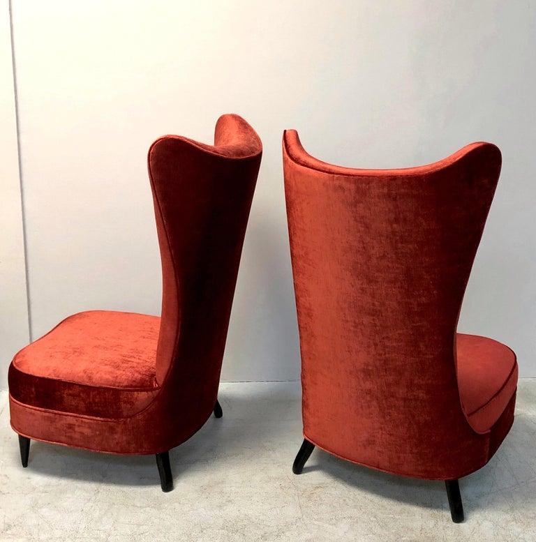 Paolo Buffa Style Tall Back Club Red Velvet Slipper Chairs For Sale 2