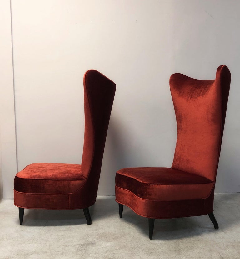 Paolo Buffa Style Tall Back Club Red Velvet Slipper Chairs For Sale 3