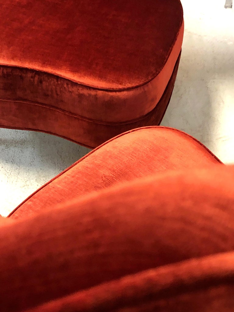 Paolo Buffa Style Tall Back Club Red Velvet Slipper Chairs For Sale 4