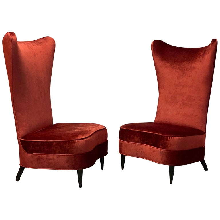 Paolo Buffa Style Tall Back Club Red Velvet Slipper Chairs For Sale