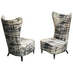 Paolo Buffa Style Tall Back Club Slipper Chairs