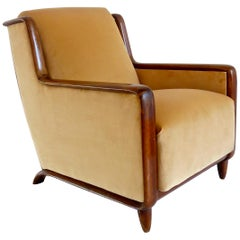 Paolo Buffa Walnut and Velvet Armchair, 1940