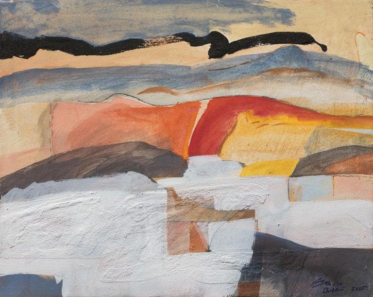 Paolo Buggiani Abstract Painting - Il Passaggio della Nuvola Nera (The Passage of the Black Cloud)
