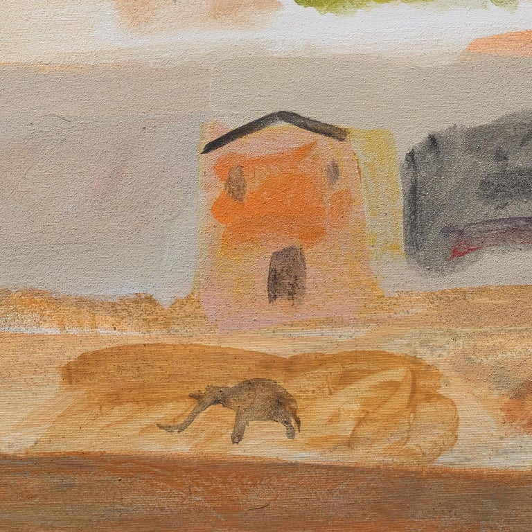 Il Tempo che Passa (The Passing of Time) - Brown Landscape Painting by Paolo Buggiani