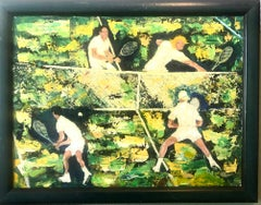 1960's Oil Painting Tennis Match Sports Scene After Leroy Neiman Sporting Art