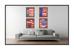 Paolo Corvino 4 Large Oil Painting On Canvas Signed American Flag United States