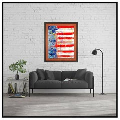 Paolo Corvino Large Oil Painting On Canvas Signed American United States Flag
