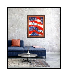 Paolo Corvino Large Oil Painting On Canvas Signed United States Flag Paul Art