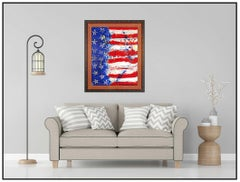 Paolo Corvino Large Original Oil Painting On Canvas Signed American Flag USA Art