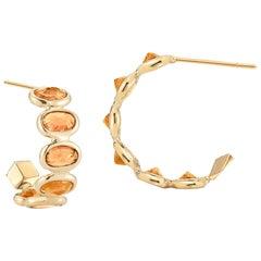 Paolo Costagli 18 Karat Gold Orange Sapphire 3.70 Carat Hoop Earring Petite