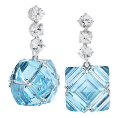 Paolo Costagli 18 Karat Gold White Sapphire and Blue Topaz Very PC Earrings