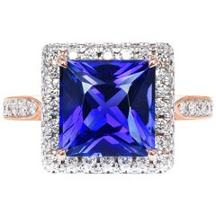 Paolo Costagli 18 Karat Rose Gold 3.79 Carat Tanzanite and Diamond Ring