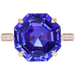 Paolo Costagli 18 Karat Rose Gold 9.54 Carat Tanzanite and Diamond Ring