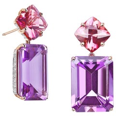 Paolo Costagli 18 Karat Rose Gold Amethyst & Change of Color Tourmaline Earrings