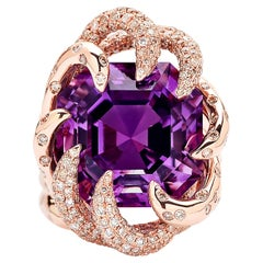 Paolo Costagli 18 Karat Rose Gold Amethyst Ring with White and Chocolate Diamond