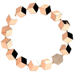Paolo Costagli 18 Karat Rose Gold and 3.35 Carat Champagne Diamond Necklace
