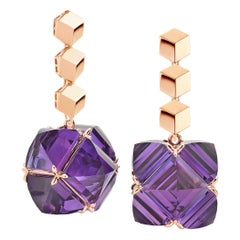 Paolo Costagli 18 Karat Rose Gold Brillante and Amethyst Very PC Earrings Grande