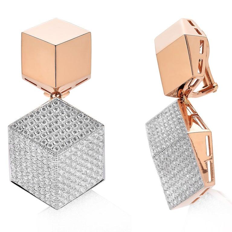 Contemporary Paolo Costagli 18 Karat Rose Gold Brillante Clip-On Earrings with Diamonds For Sale
