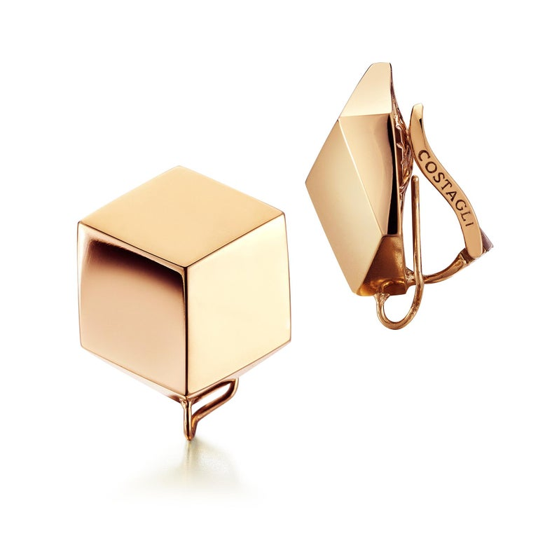Round Cut Paolo Costagli 18 Karat Rose Gold Brillante Clip-On Earrings with Diamonds For Sale