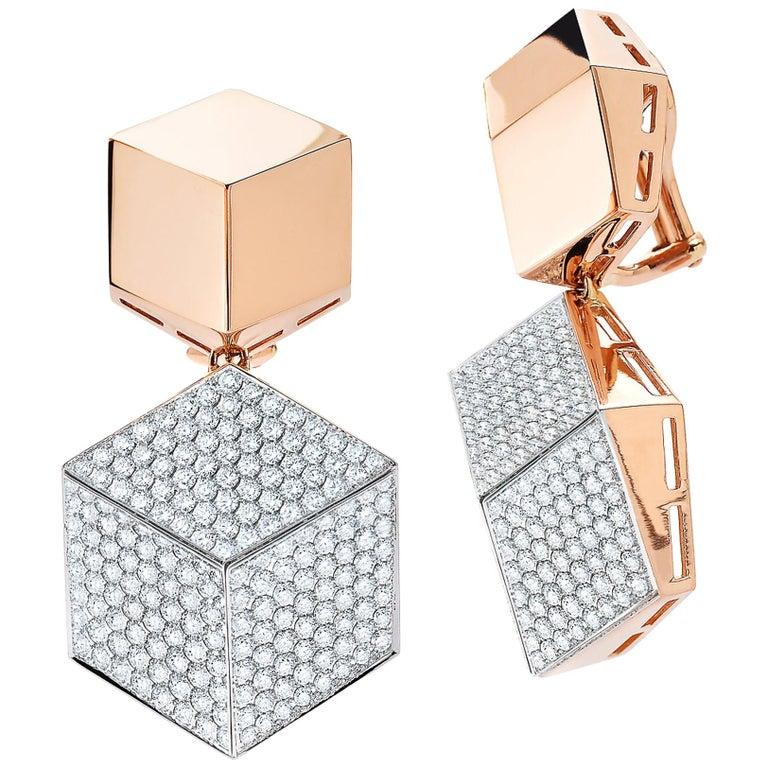 Paolo Costagli 18 Karat Rose Gold Brillante Clip-On Earrings with Diamonds For Sale