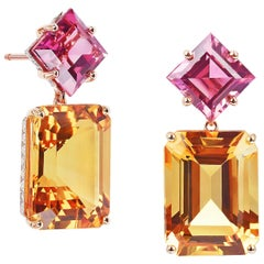 Paolo Costagli 18 Karat Rose Gold Change of Color Tourmaline and Citrine Earring