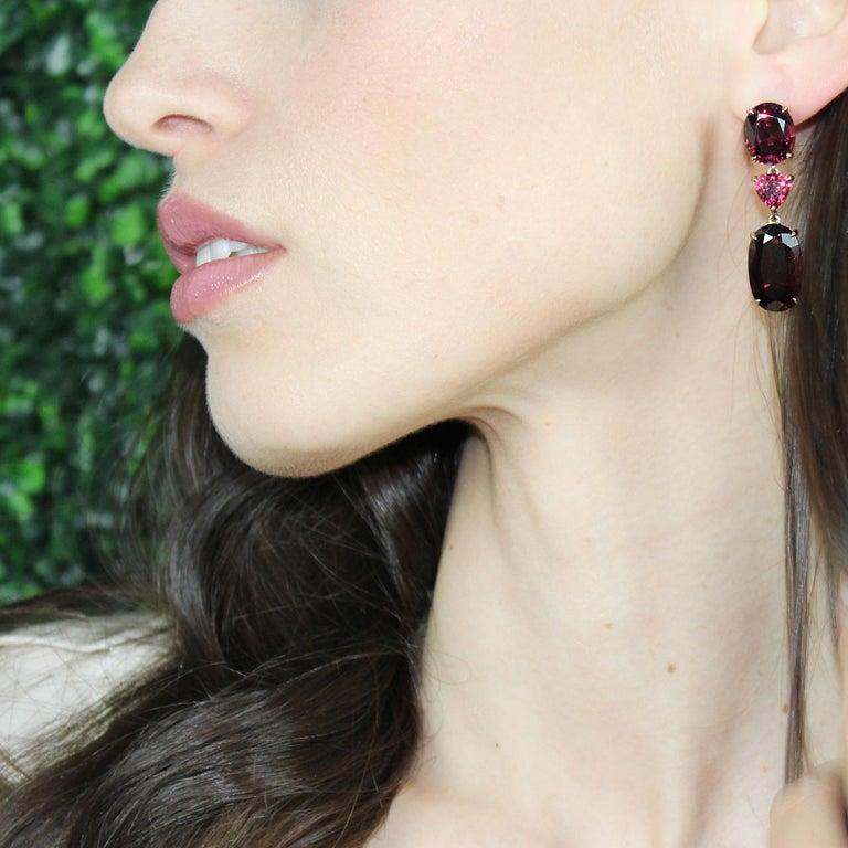 Oval Cut Paolo Costagli 18 Karat Rose Gold Rhodolite Garnet and Diamond Earrings For Sale
