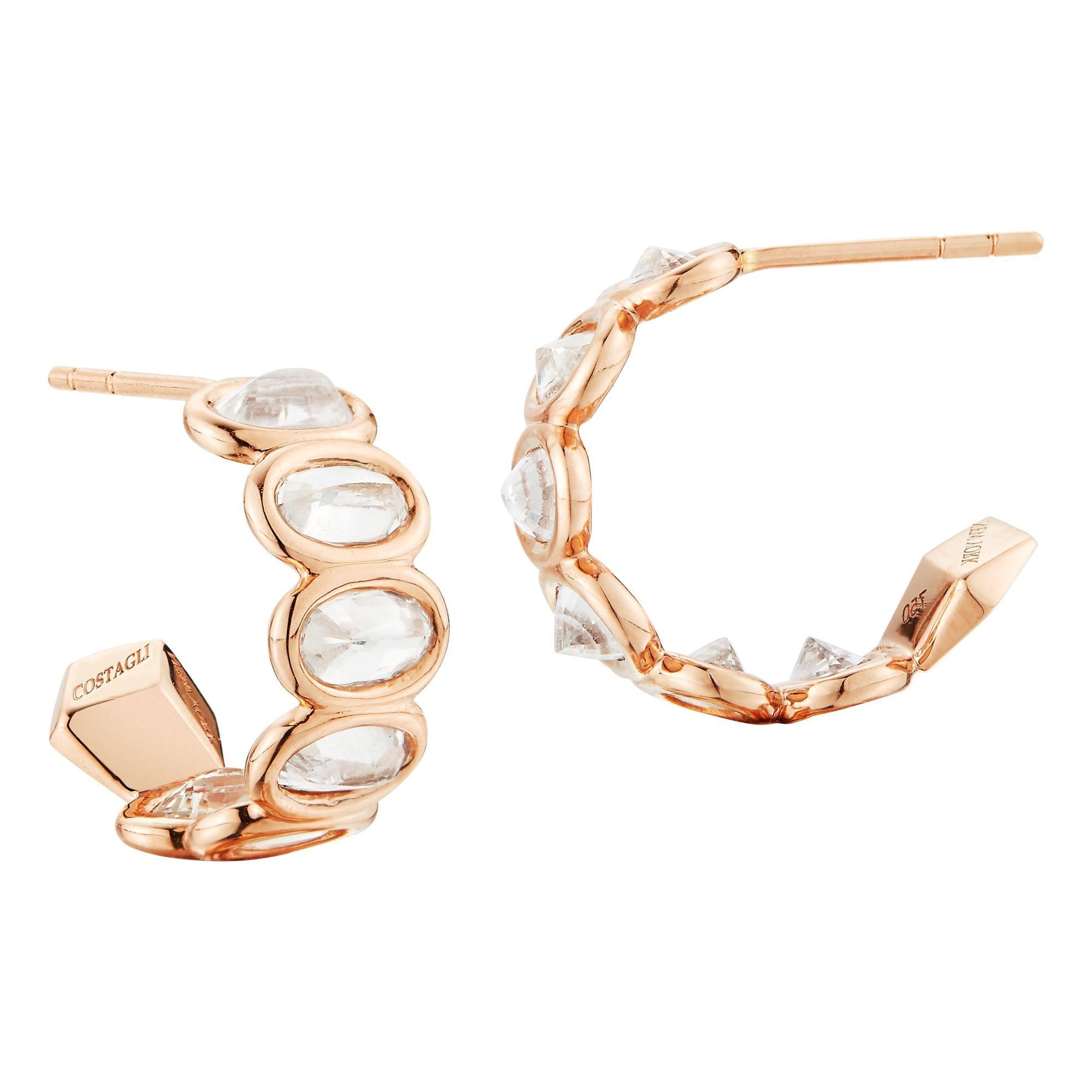 Paolo Costagli 18 Karat Rose Gold White Sapphire 3.30 Carat Hoop Earring, Petite
