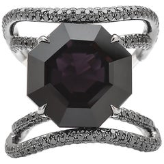 Paolo Costagli 18 Karat White Gold Black Spinel and Black Diamond Ring