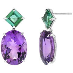 Paolo Costagli 18 Karat White Gold Blue Green Tourmaline and Amethyst Earrings