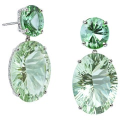 Paolo Costagli 18 Karat White Gold Green Amethyst and Mint Tourmaline Earrings