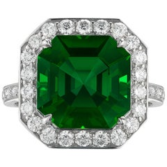 Paolo Costagli 18 Karat White Gold Green Tourmaline Ring with Diamonds